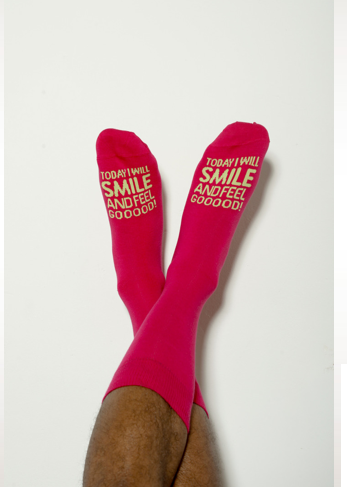 Pants To Poverty's Affirmation Sock in pink/lime green - £9